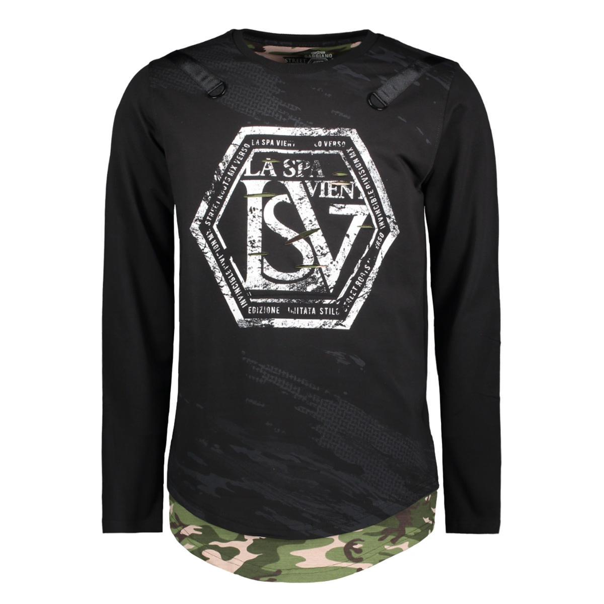 76106 gabbiano t-shirt black