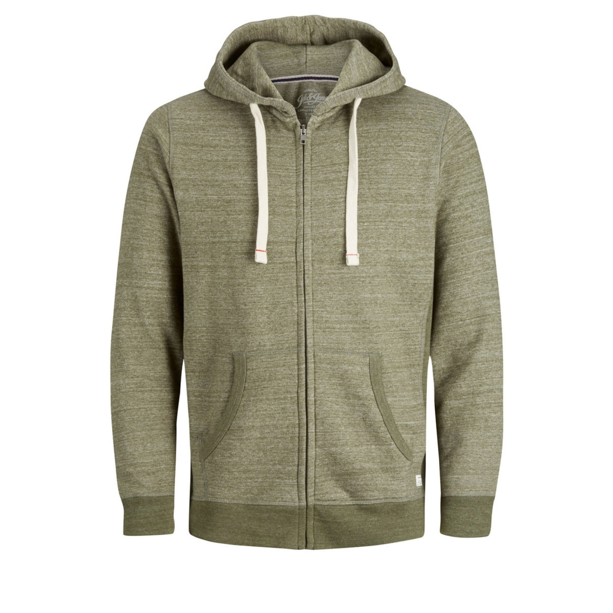 jjespace melange sweat zip hood noos 12136769 jack & jones vest olive night/reg fit