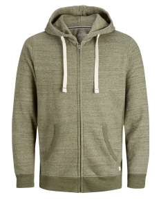 Jack & Jones Vest JJESPACE MELANGE SWEAT ZIP HOOD NOOS 12136769 Olive Night/REG FIT