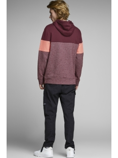 jcomart sweat hood 12156791 jack & jones sweater zinfandel/reg