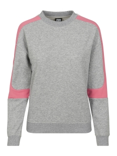 panel terry crewneck tb2619 urban classics sweater grey/pink/white