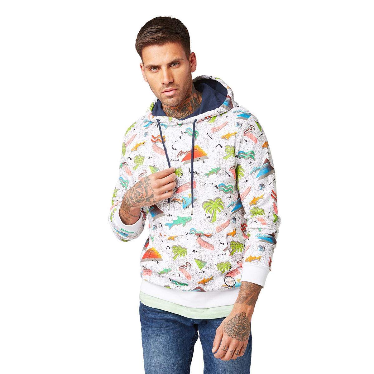 hoodie met print 1011897xx12 tom tailor sweater 18293