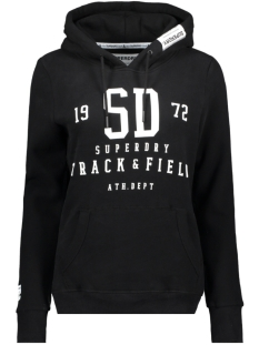 Superdry sweater TRACK AND FIELD HOOD W2000049A BLACK
