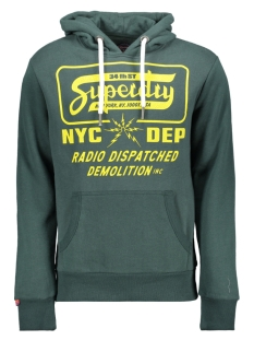 demolition crew hood m2000006b superdry sweater buck green marl