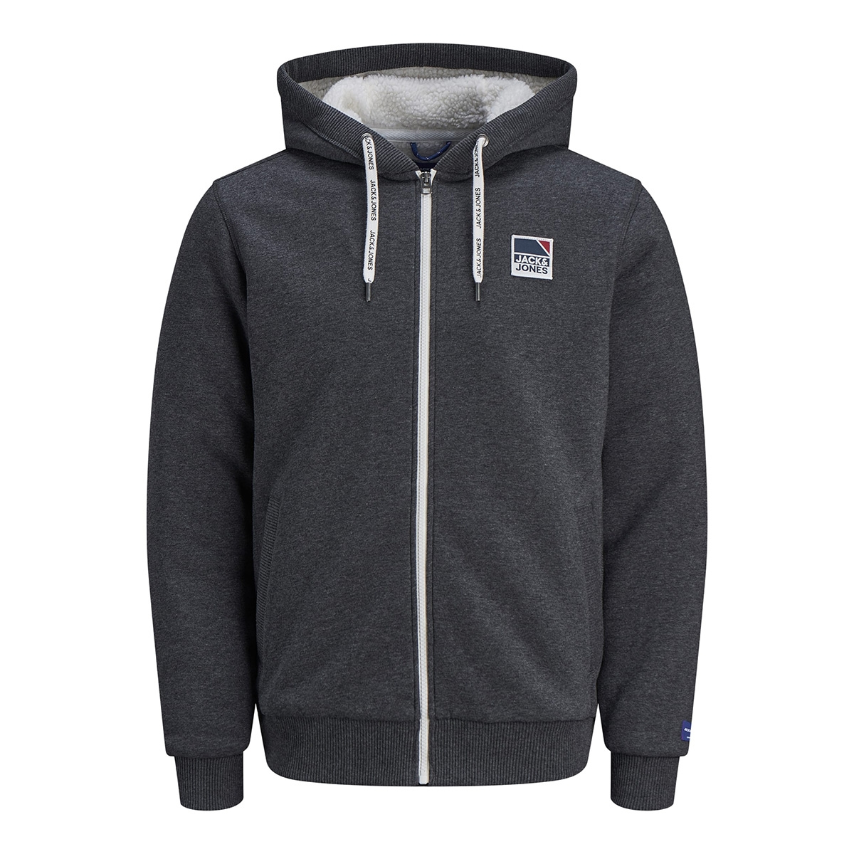 jorted sweat zip jacket 12161793 jack & jones vest dark grey melange/reg