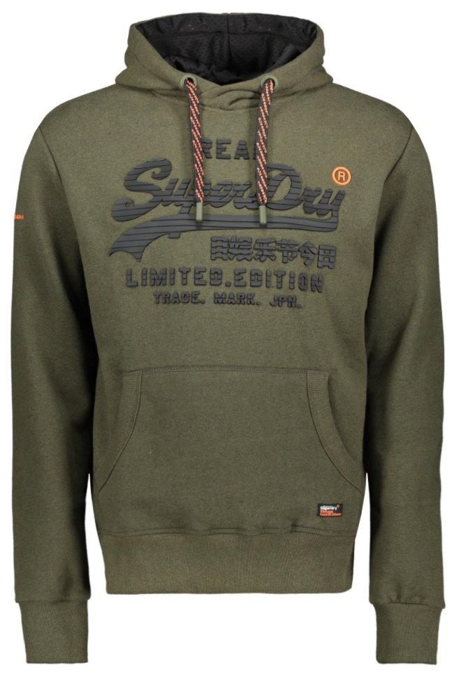 vintage logo fero hood m20365nt superdry sweater dark olive grit