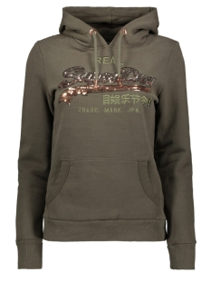 Superdry sweater LOGO OMBRE SEQUIN ENTRY HOOD W2000108A WASHED KHAKI
