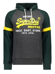 Superdry sweater VL SWEAT SHIRT STONE COLOURBLOCK HOOD M2000136B GRAPHITE DARK MARL