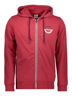 Jack & Jones Vest JCOSTRONG SWEAT ZIP HOOD 12165714 Rio Red/MELANGE