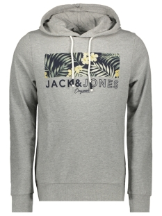 jortropic sweat hood 12164450 jack & jones sweater light grey mela/jj slim