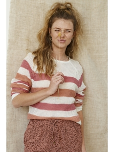 Ydence Trui LIZZY KNITTED SWEATER GESTREEPT PINK/CORAL