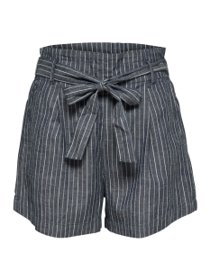 jdyleila paperwaist short with belt 15176041 jacqueline de yong korte broek blue depths stripes/blue depth