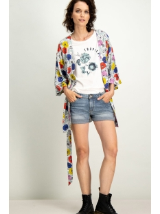 groene kimono met bloemenprint e90095 garcia vest 2715 perfect mint