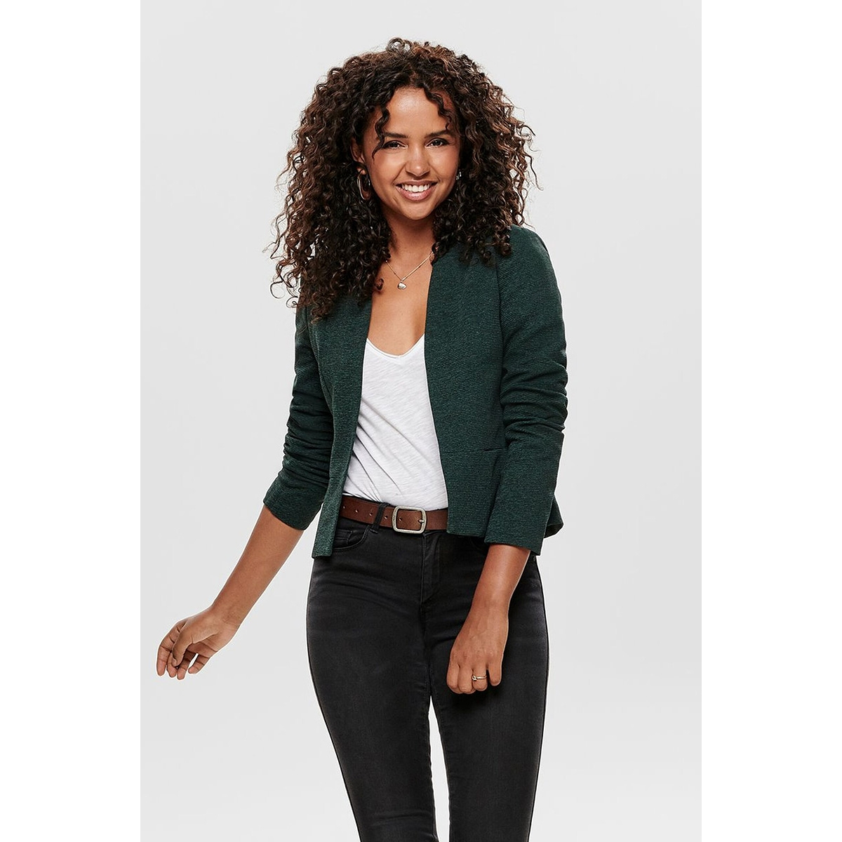 onllinda l/s short fitted blazer cc 15178688 only blazer green gables/w. melange