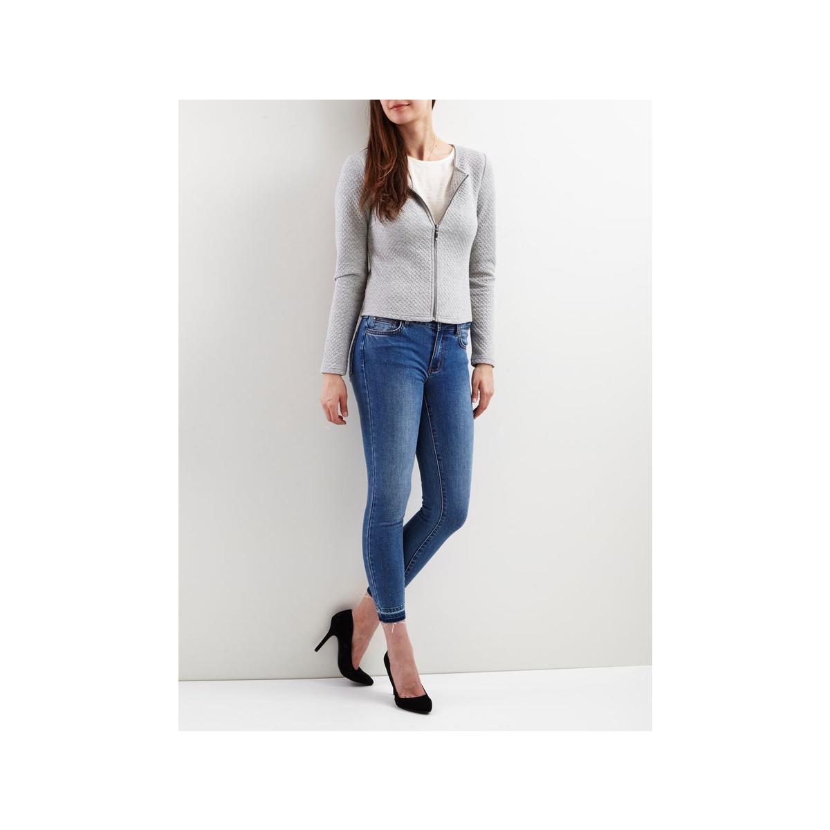 vinaja new short jacket 14032657-1 vila vest light grey melange