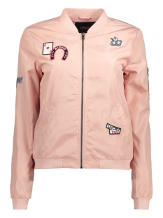 Only Jas onlLINEA BADGE NYLON BOMBER OTW 15129315 Peach Whip/Casino Bad