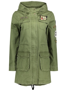 Only Jas onlTUESDAY BADGE CANVAS PARKA OTW 15129760 Rifle Green/Badges