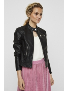 vmchanine short pu jacket boos 10179244 vero moda jas black beauty