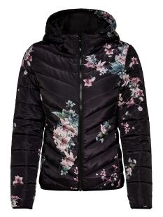 jdynew ash quilted jacket aop otw 15146377 jacqueline de yong jas black/flower