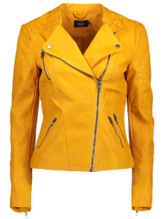 onlava faux leather biker otw noos 15102997 only jas golden yellow