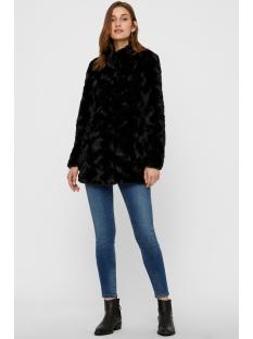vmcurl high neck faux fur jacket no 10203269 vero moda jas black