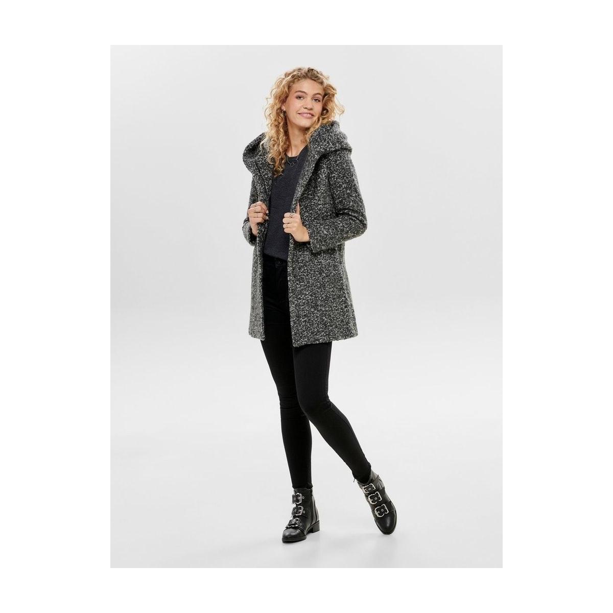 onlsedona boucle wool coat otw noos 15156578 only jas dark grey/melange