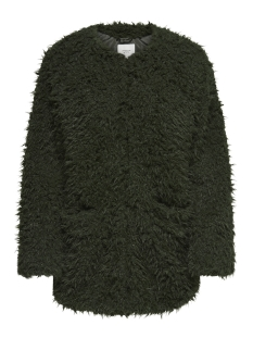 Jacqueline de Yong Jas JDYELSA FLUFFY  LONG JACKET OTW QIQ 15160991 Forest Night