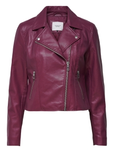 Jacqueline de Yong Jas JDYESMA SHORT FAUX LEATHER JACKET O 15160981 Red Plum