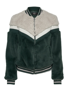 Only Jas onlTINA BLOCKED FAUX FUR ZIP JACKET 15165936 Green Gables/W. PURE CA