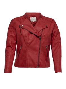 Only Carmakoma Jas CARAVANA FAUX LEATHER BIKER SS 19 15172207 High Risk Red/GUN SPEND