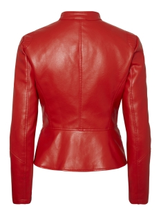 vmleksi favo short faux leather jac 10206599 vero moda jas fiery red