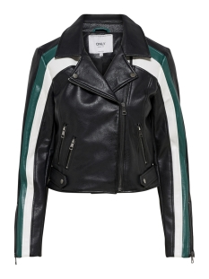 Only Jas onlSOLEI FAUX LEATHER BLOCKED BIKER 15169739 Black/CADMIUM GREEN
