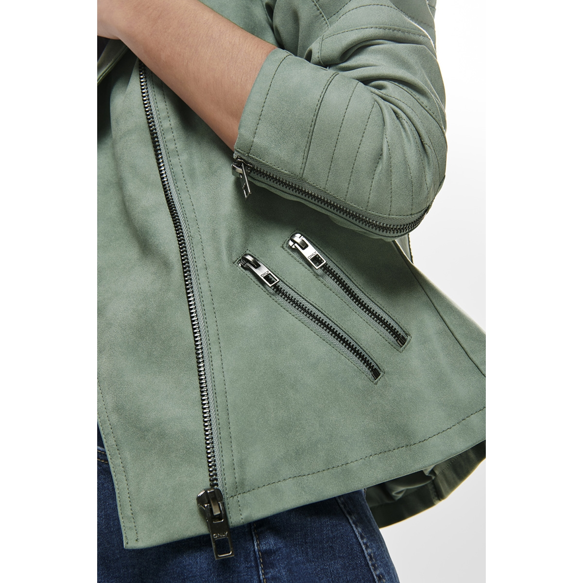 onlava faux leather biker otw noos 15102997 only jas chinois green