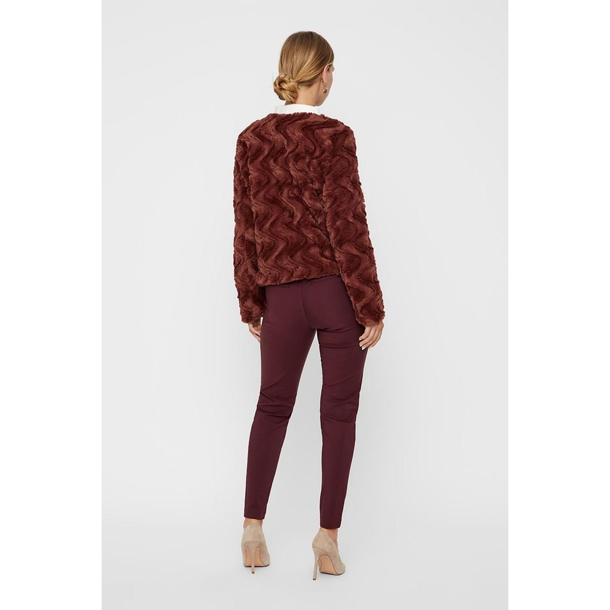 vmcurl short faux fur jacket col 10202512 vero moda jas mahogany