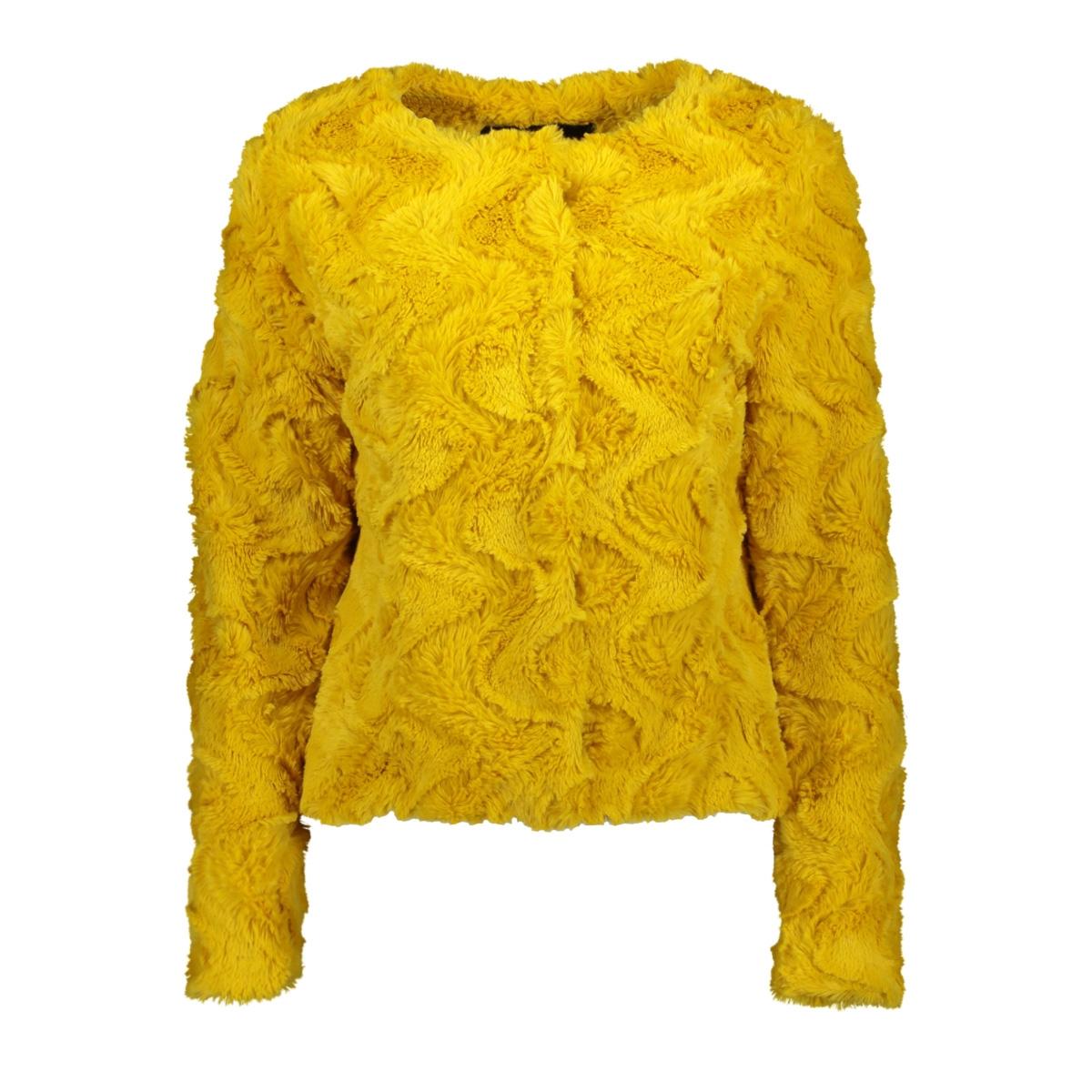 vmcurl short faux fur jacket col 10202512 vero moda jas spicy mustard