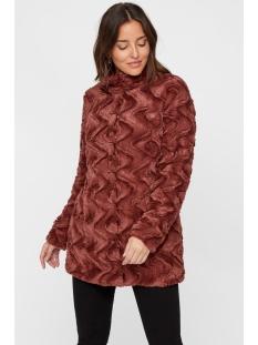 vmcurl high neck faux fur jacket noos 10203269 vero moda jas mahogany