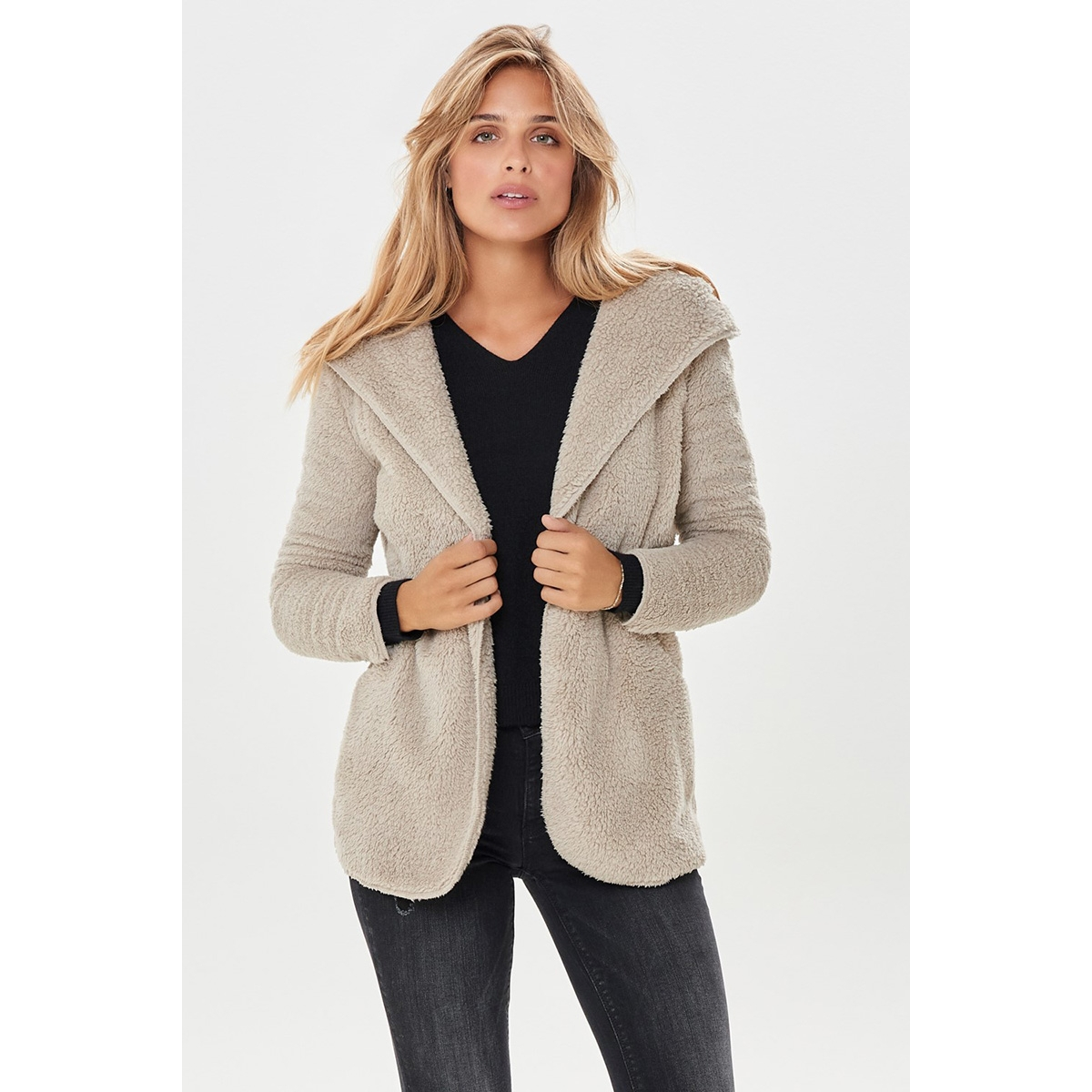 onlnewcontact hooded sherpa coat otw 15161142 only vest cuban sand