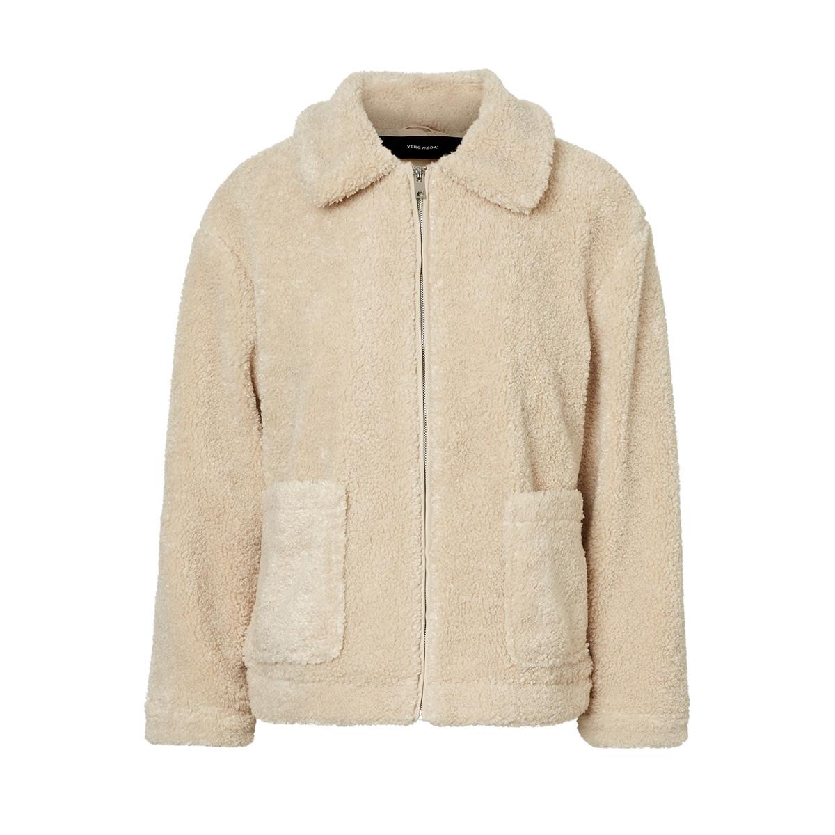 vmcamille teddy jacket 10217084 vero moda jas oatmeal