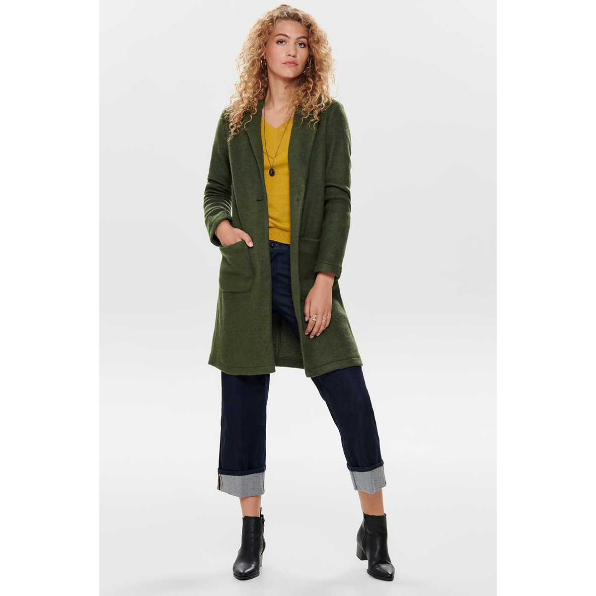 jdylela knit jacket otw gua 15184219 jacqueline de yong jas ivy green/black melange