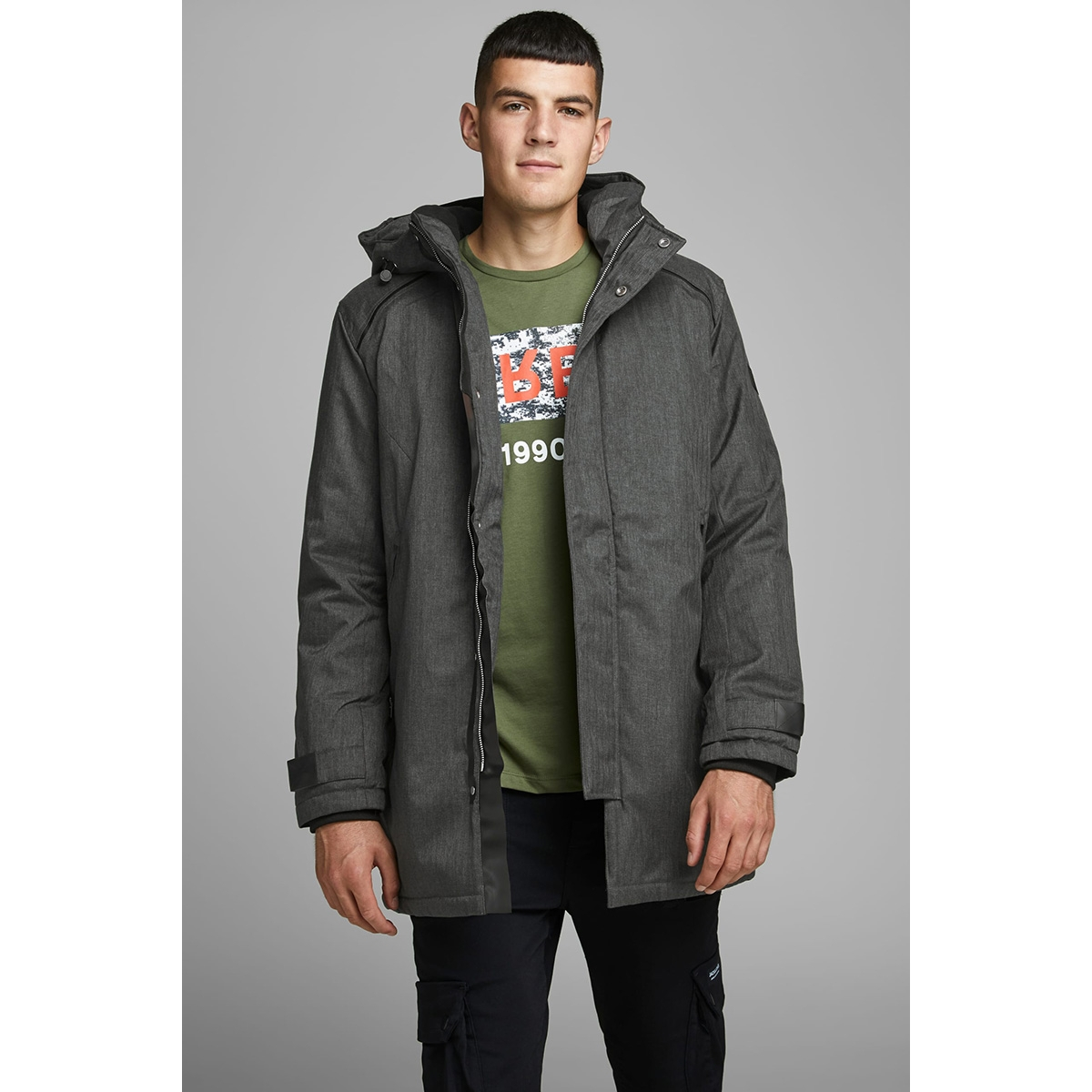 jcofigure parka sts 12157684 jack & jones jas black/melange