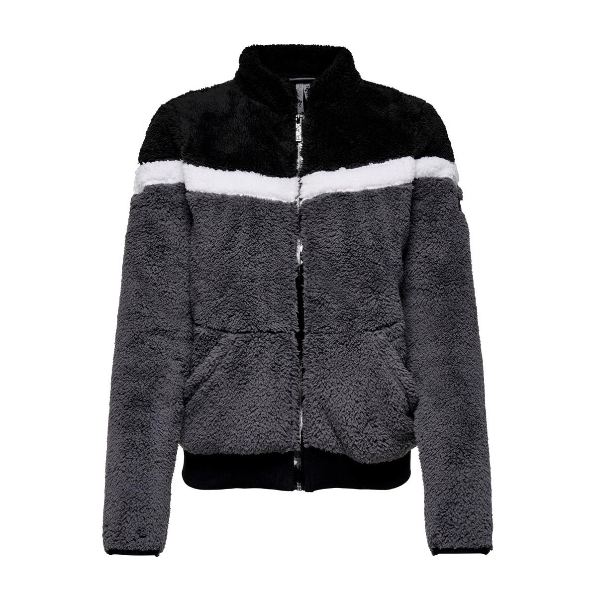 onpfluffy colorblock jacket 15176176 only play sport vest phantom/w. white