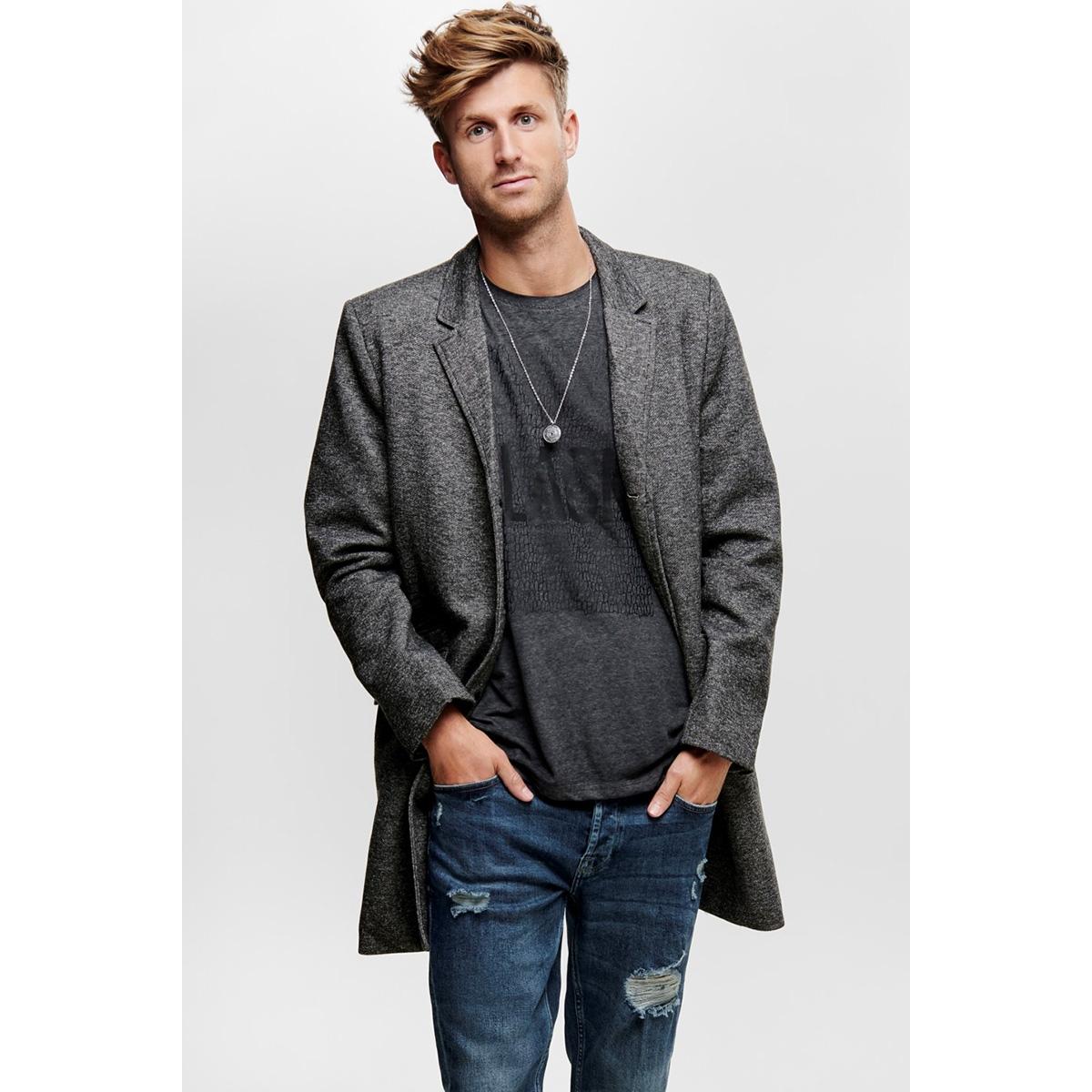 onsjulian king coat in otw 22012280 only & sons jas dark grey melange