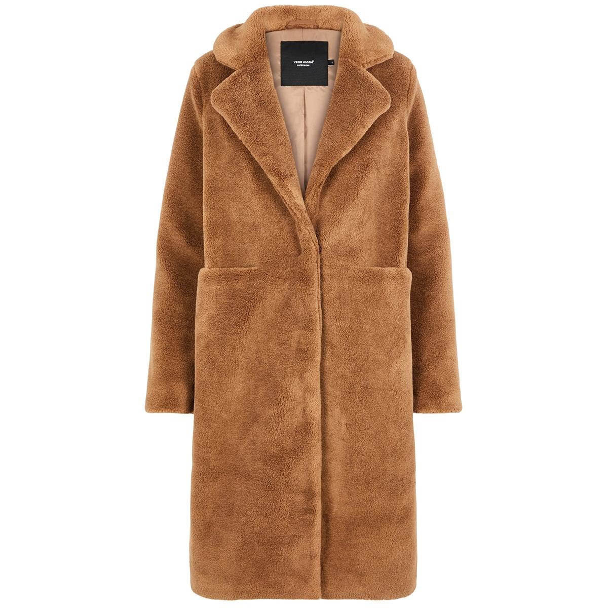 vmholly long teddy jacket ki 10217014 vero moda jas tobacco brown