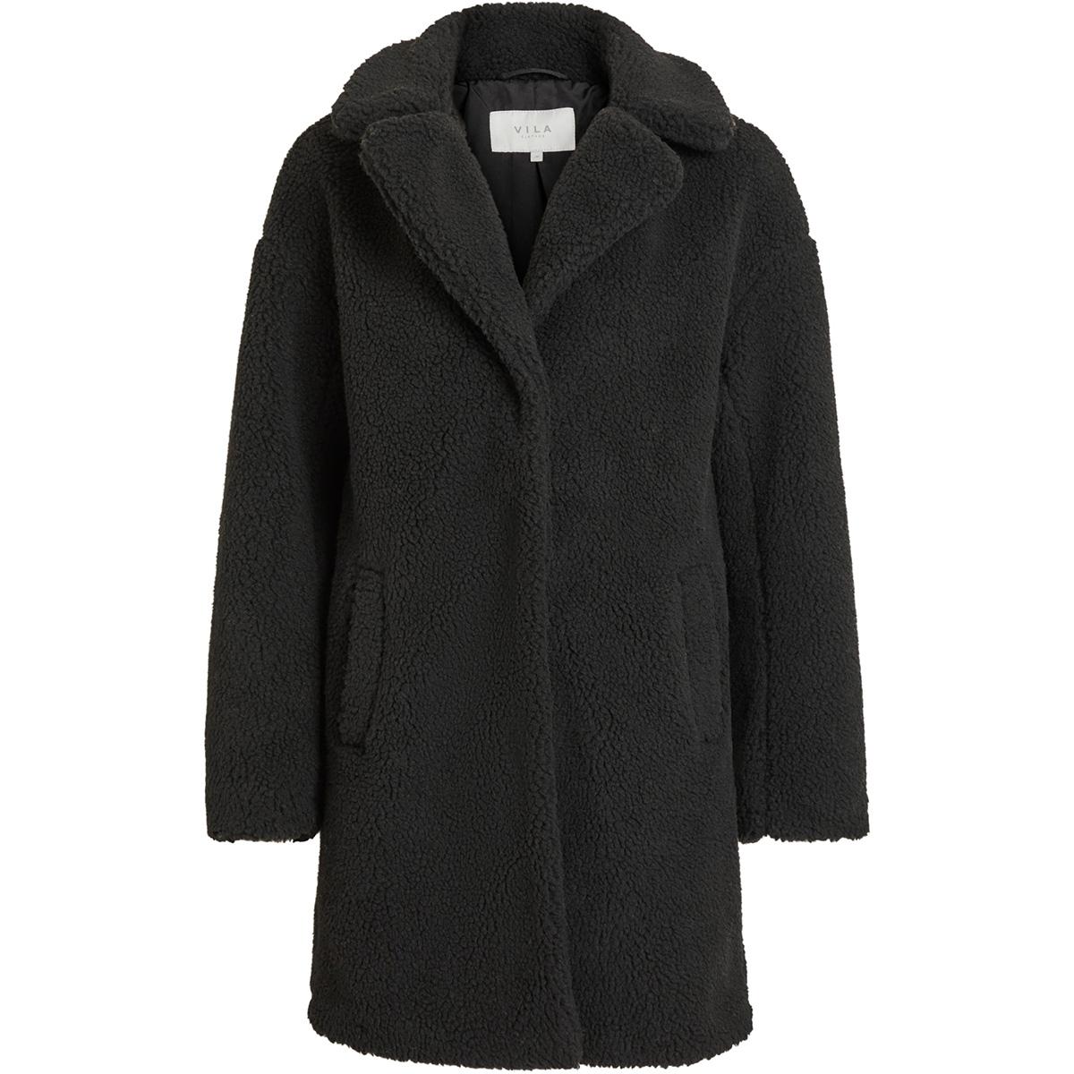viplys teddy coat/as 14055384 vila jas black