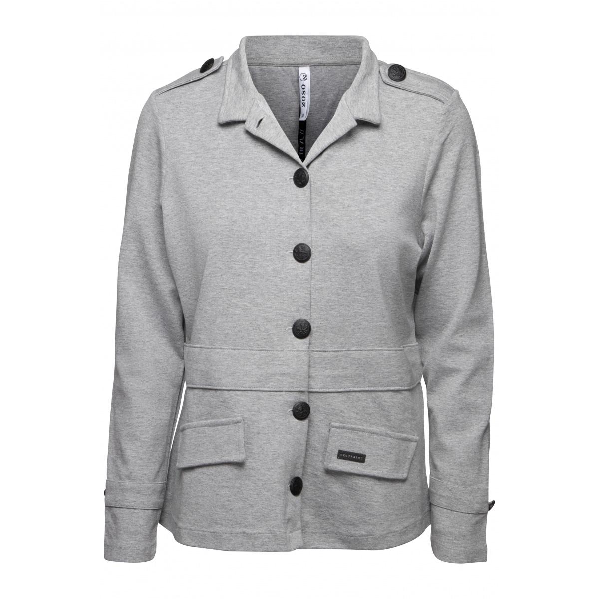 dora fancy punto jacket 194 zoso vest grey melange