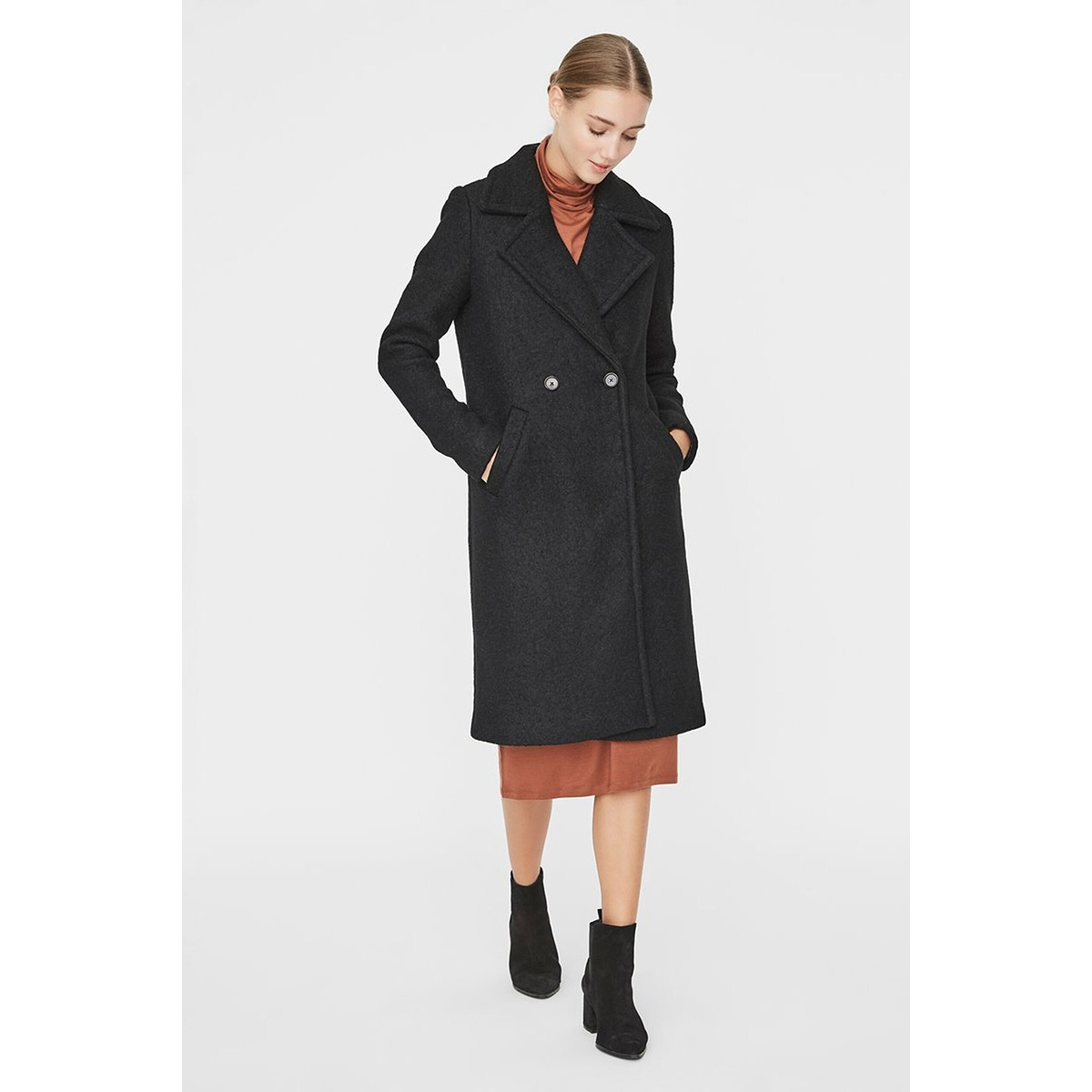 vmnewloop lux long wool jacket 10218460 vero moda jas black