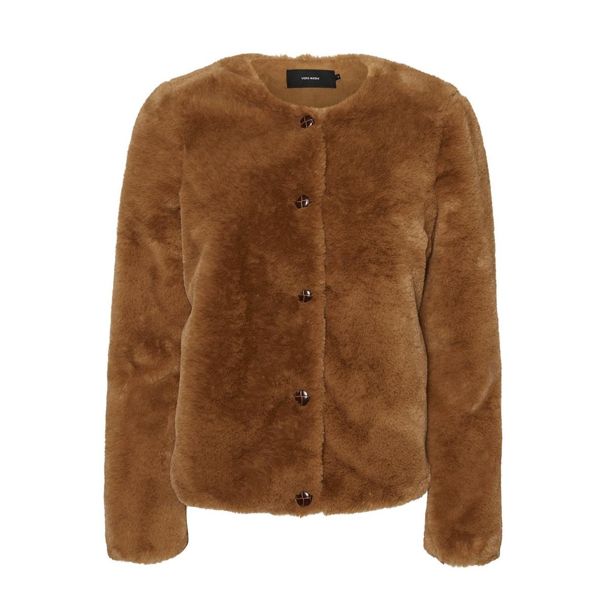 vmvallibutton short faux fur jacket 10221901 vero moda jas tobacco brown