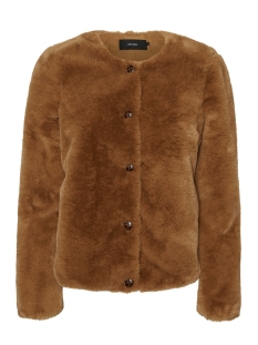 Vero Moda Jas VMVALLIBUTTON SHORT FAUX FUR JACKET 10221901 Tobacco Brown