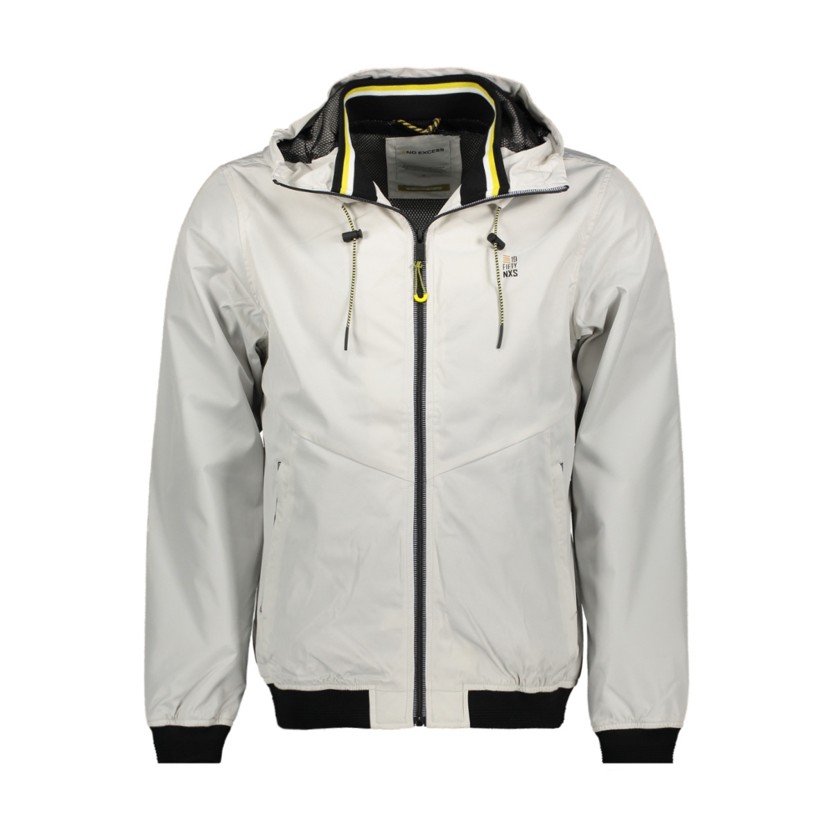 hooded short fit jacket 95630107 no-excess jas 017 chalk