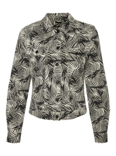vmleonora ls palm denim jacket 10231243 vero moda jas birch/phantom/black